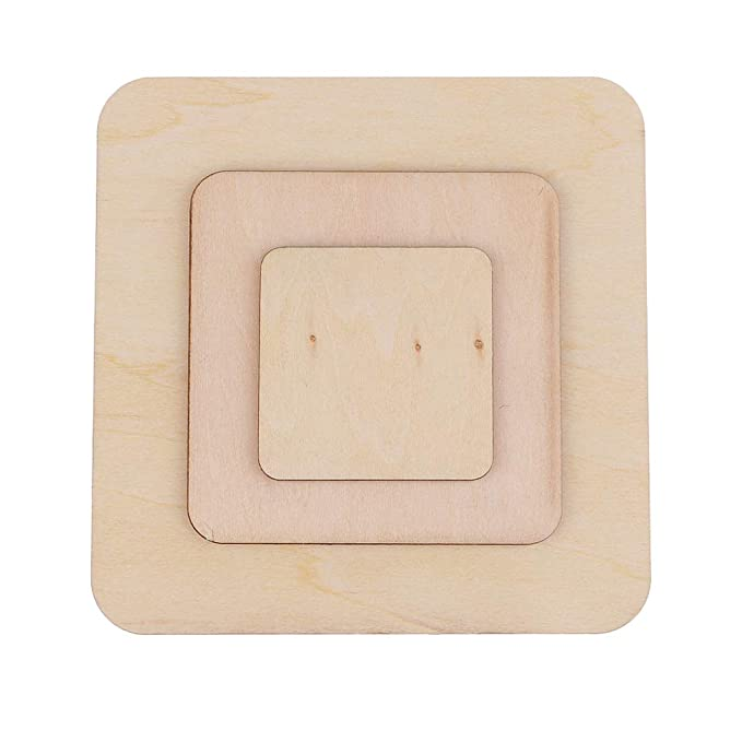 5Pairs Rectangle Shape Craft Blank Wood Plaque Sign Pyrography DIY Materials