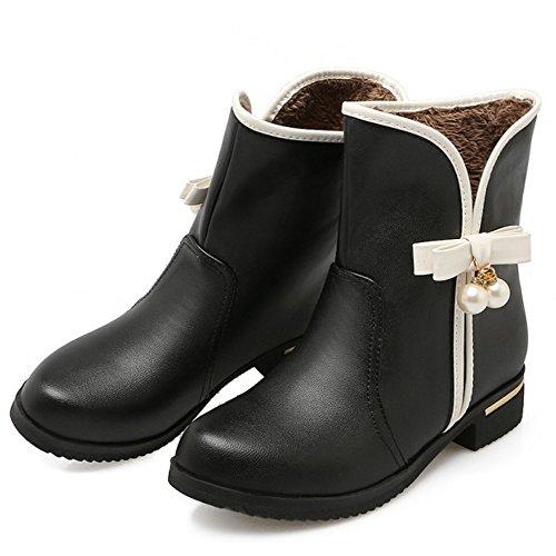COOLCEPT On Pull Women Black Boots xRxT64qwr