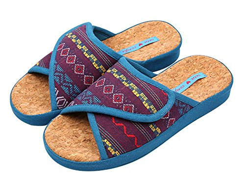 Slip on Slippers Non-slip Organic Cotton Open Tote Sandals | Moisture Wicking Soft Oak Insole | Indoor or Outdoor Shoes | Ethnic VINTAGE STYLE Slippers Pantofle for Adult