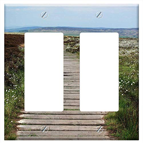 Switch Plate Double Rocker/GFCI - Boardwalk Footpath Green Hike Hiking Landscape