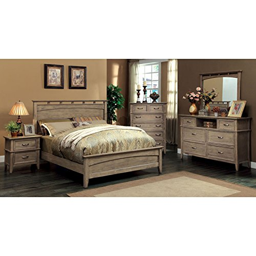 Loreta Transitional Style Bleach Oak Finish Queen Size 6-Piece Bedroom Set (Hardwood Bedroom Furniture Sets)