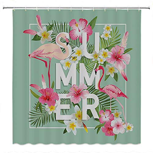 SATVSHOP Creative Home Ideas Textured Shower Curtain with Beaded Rings-Floral Tropical Flower with Flamingos etro Wedding omance Petals Graphic Art Mint Green Pink.W72 x L84 inch ()