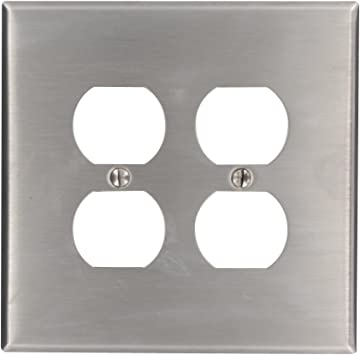 Leviton 84116 2 Gang Duplex Device Receptacle Wallplate Oversized Device Mount Stainless Steel Home Improvement