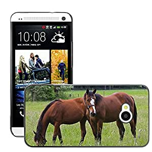 Hot Style Cell Phone PC Hard Case Cover // M00113979 Horse Nature Pasture Animals Horses // HTC One M7