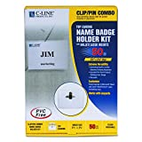 C-Line 95723 Name Badge Kits, Top Load, 3 1/2 x 2 1/4, Clear, Combo Clip/Pin (Box of 50)