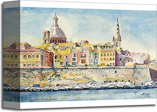 Valletta skyline Print Poster Watercolour Framed Canvas Wall Art city Malta