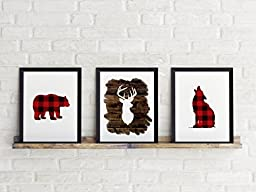 Three Piece Handlettered Nursery Graphic Design Prints 8.5 x11 Artwork Wood Red Flannel \