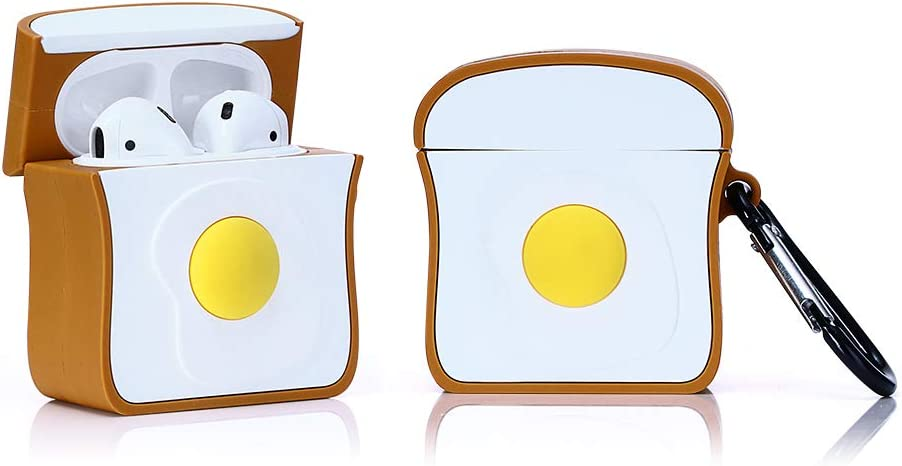 LEWOTE Airpods Silicone Case Funny Cute Cover Compatible for Apple Airpods 1&2[Dessert Food Series][Best Gift for Girls Boys or Couples] (Toast)