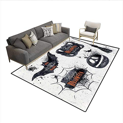 Carpet,Halloween Symbols Happy Holiday Witch Lives Here Broomstick Spider Web,Customize Rug Pad,Black White 6'x7' ()