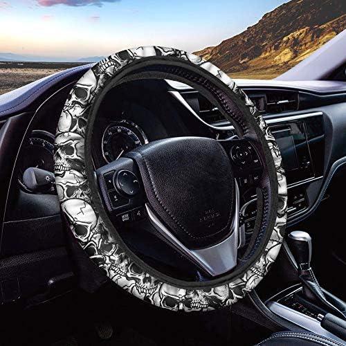 HUGS IDEA Universal Size Car Steering Wheel Cover Punk Skull Design Stretch-on Car Accessories for Women Girl Suitable for SUV Sedan Vans Trucks