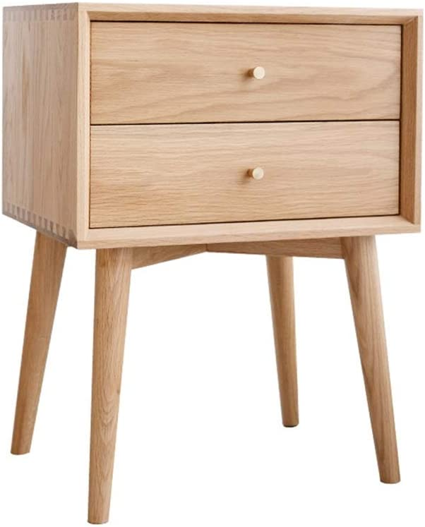 Teerwere Bedside Table cabinets 2-Drawer Bedside Table Solid Wood Storage Cabinet Modern Bedroom Furniture Nightstand Retro Bedside Table (Color : Log Color, Size : 45x35x60cm)