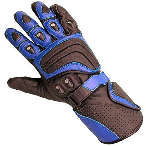 Juicy Trendz New Cowhide Leather Motorbike Motorcycle Gloves Blue