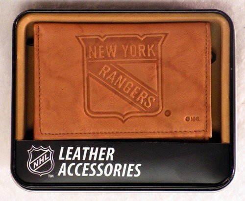 Rico Industries NHL New York Rangers Embossed Leather Trifold Wallet, Tan