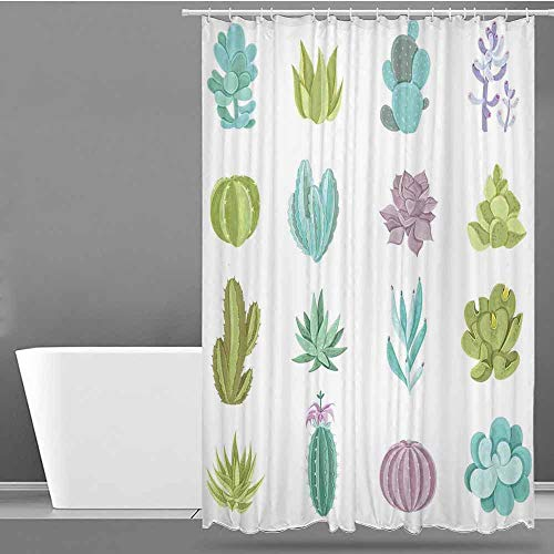 VIVIDX Home Decor Shower Curtain,Exotic,Various Saguaro Barbary Fig Prickly Pear Peyote Tropical Plants,Single stall Shower Curtain,W72x84L Pistachio Green Lilac Turquoise