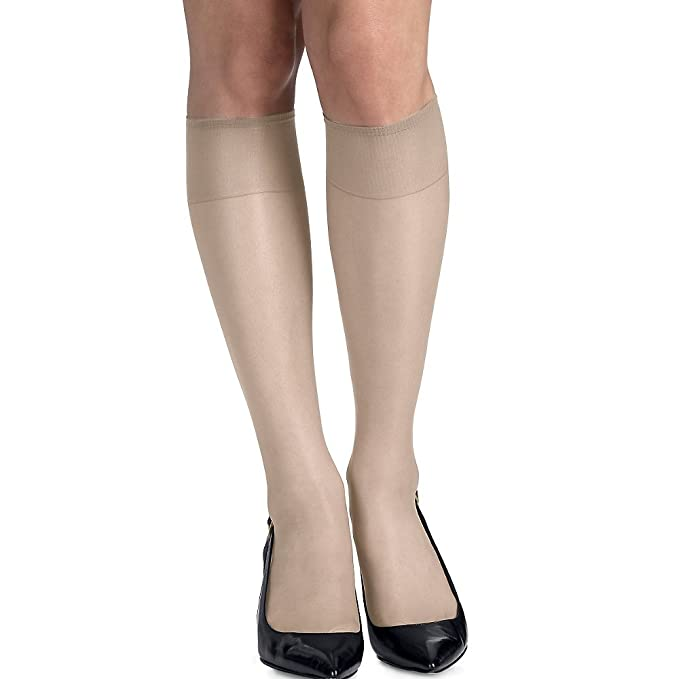 ce93a4a9f26 Image Unavailable. Image not available for. Color  Hanes womens Silk  Reflections Silky Sheer Knee Highs with Reinforced Toe 2-Pack(00775