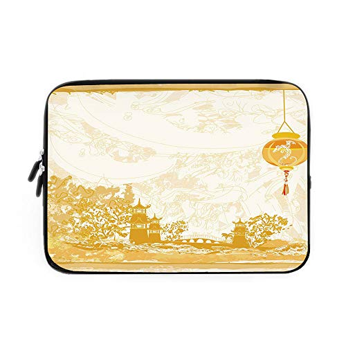 Lantern Laptop Sleeve Bag,Neoprene Sleeve Case/Old Paper with Ancient Japanese Buildings Depicted on Asian Retro Style Samurai Decorative/for Apple MacBook Air Samsung Google Acer HP DELL Len