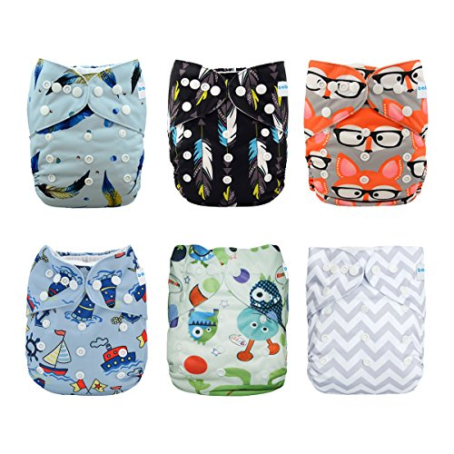 Babygoal Baby Adjustable Reusable Pocket Cloth Diapers, Boy Color, 6pcs Diapers + 6pcs Microfiber Inserts+One Wet Bag 6FN31 from babygoal
