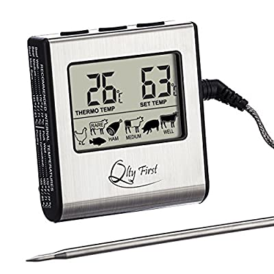 Qlty First Digital Meat Cooking Kitchen Thermometer - Stainless Steel Probe with Built-in Timer and Remote Alarm for Oven, Grill, BBQ, Stovetop smokers by Qlty First