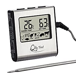 Qlty First Digital Meat Cooking Kitchen Thermometer Stainless Steel Probe With Built In Timer And Remote Alarm For Oven Grill Bbq Stovetop Smokers