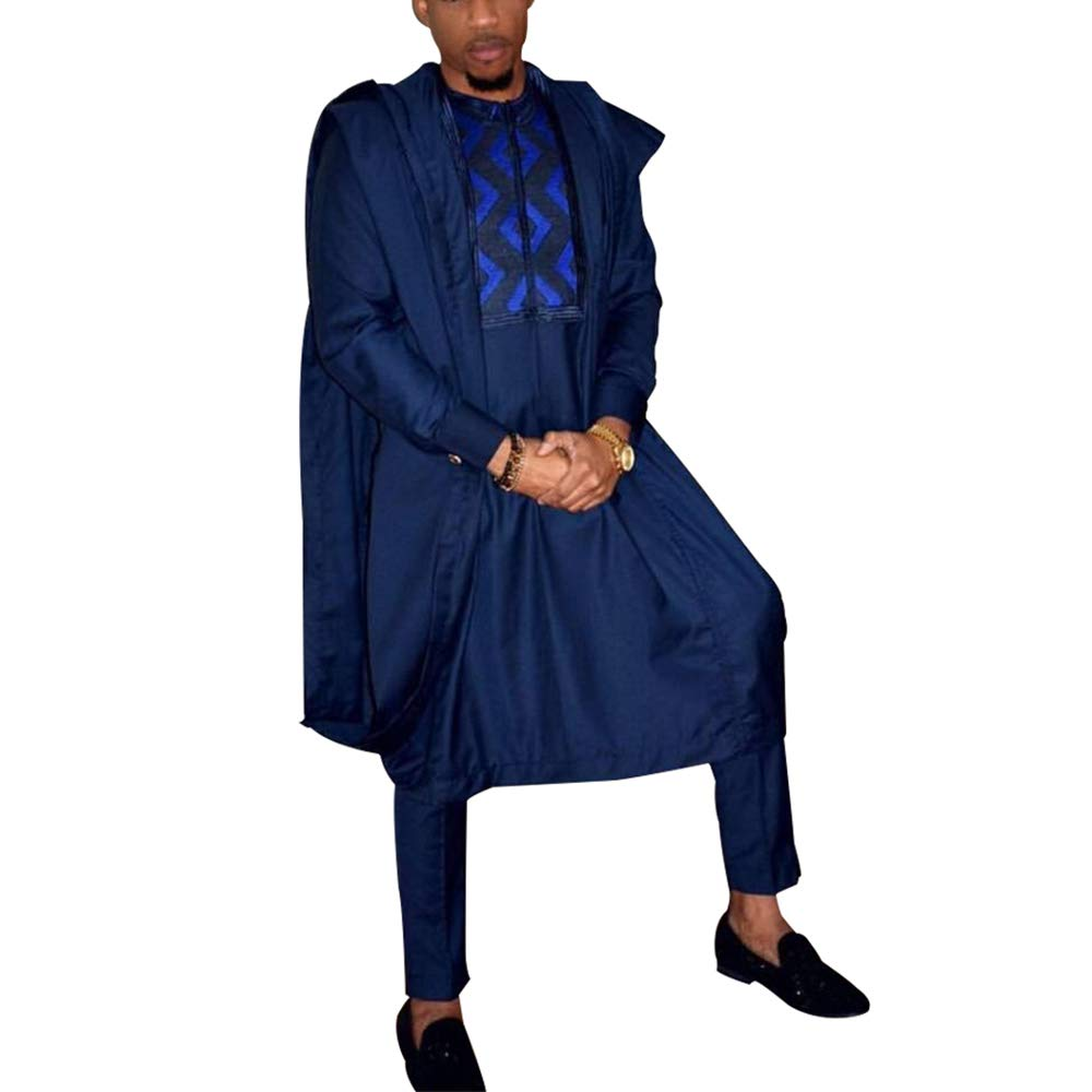 HD African Clothing Embroidery Agbada Robe Dashiki Shirt Mens Boubous Outfits 3 Pieces XL Blue
