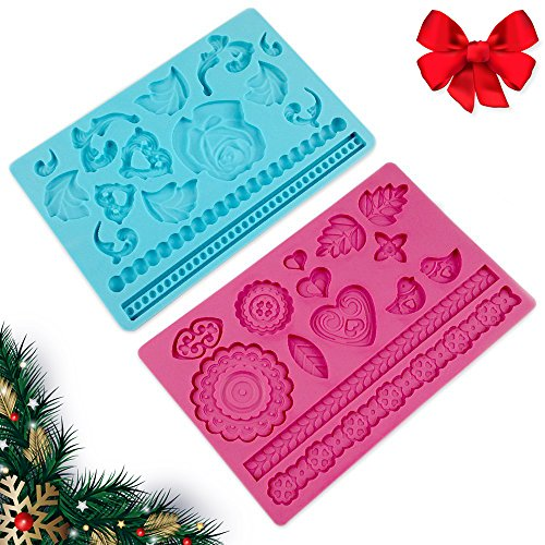 CHRISTMAS GIFT Set of 2 Gorgeous 8 X 5 Inches Rose and Folk Non Stick Mat Food Grade Silicone 3D Mold for Cupcake Icing Candy Gumpaste Embossing Decoration Sugarcraft Art | Blue and Pink | 1135.3 (Christmas Ornament Smurf)