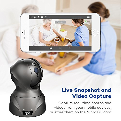 WiFi Cameras, TaoTronics Security Camera with HD Video Streaming, Nanny / Baby / Pet Monitor Cam (1080p High Res, 350 Pan / 100 Tilt / Digital Zoom, Wired + Wireless, Two Way Audio)