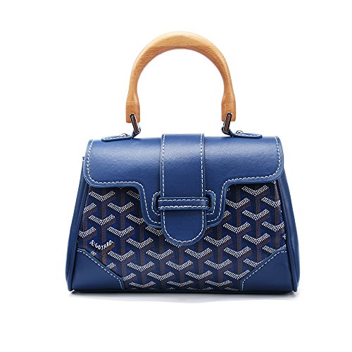Stylesty Fashion Mini Handbag, Top Handle Bag with Shoulder Strap , PU Cross Body Bag with Wooden Handle (Blue)