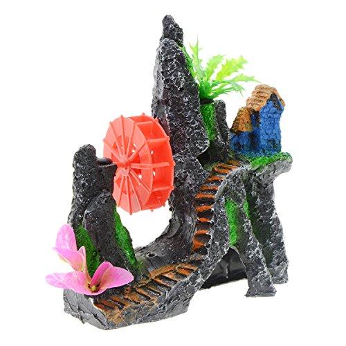 Saim Aquarium Mountain View Décor Resin Decorative Rocks Landscape Ornaments Plastic Plant Grass Pavilion Hideout Cave…