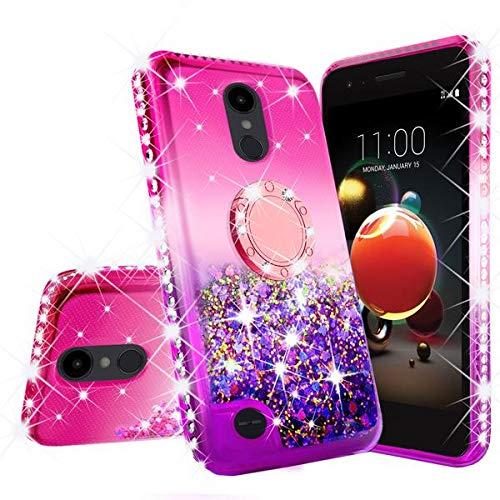 Rebel Bling - LG Rebel 4 LTE Case,LG Aristo 3 Case,LG Zone 4 Case, LG Phoenix 4 Case,LG Risio 3/Aristo 2 Plus Case,Cute Ring Liquid Glitter Phone Case Cover Kickstand Bling Diamond for Girls Women (Hot Pink/Purple)