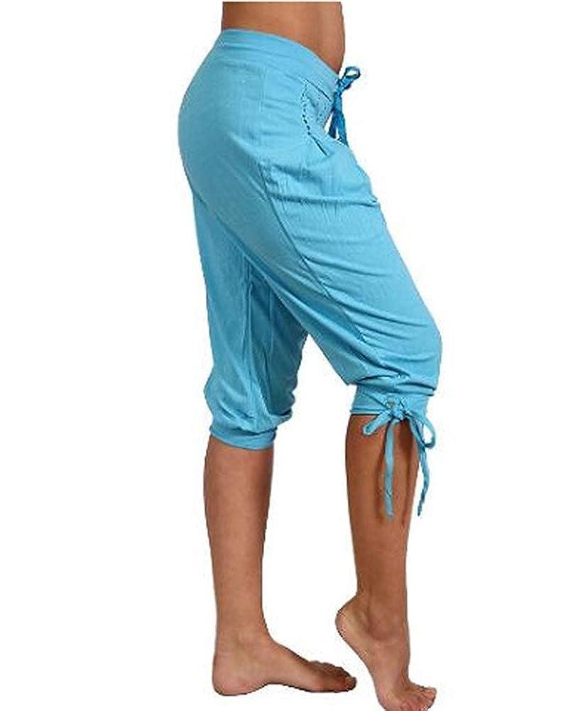c9d5a9caefc9 Guiran Femme Pantacourt Ample Pantalons Courts 3  4 Bermudas Genou Longueur