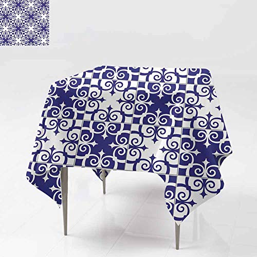 Waterproof Table Cover,Gorgeous seamless pattern white blue Moroccan Portugue,Table Cover for Dining 54x54 Inch se til es Azulejo ornaments Can be used for wallpaper pattern fills web page background