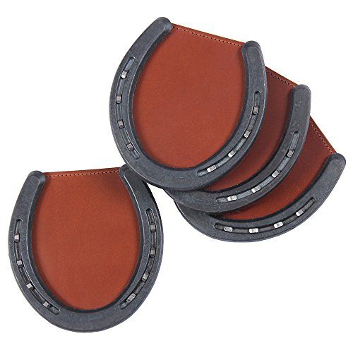 - Leather Horseshoe Coasters Caddies Brown Set of Four USA Made