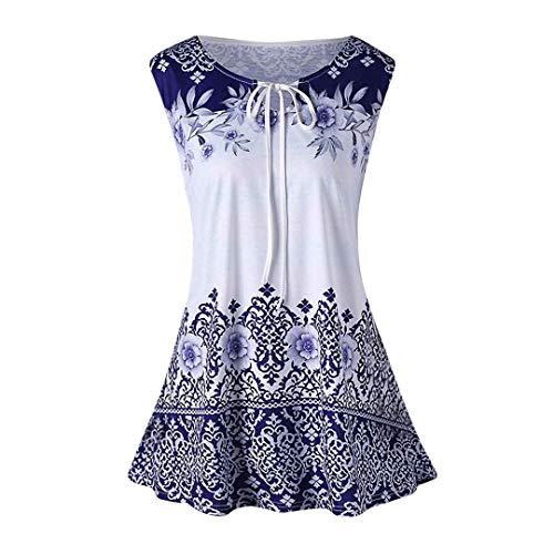 XVSSAA Ladies Plus Size Top T-Shirts, Female Sleeveless Flare Sleeve Keyhole Drawstring Lace-Up Printed Blouse Blue