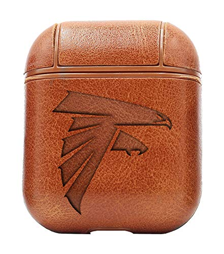 (Atlanta Falcons (Vintage Brown) Air Pods Protective Leather Case Cover - a New Class of Luxury to Your AirPods - Premium PU Leather and Handmade exquisitely by Master Craftsmen)