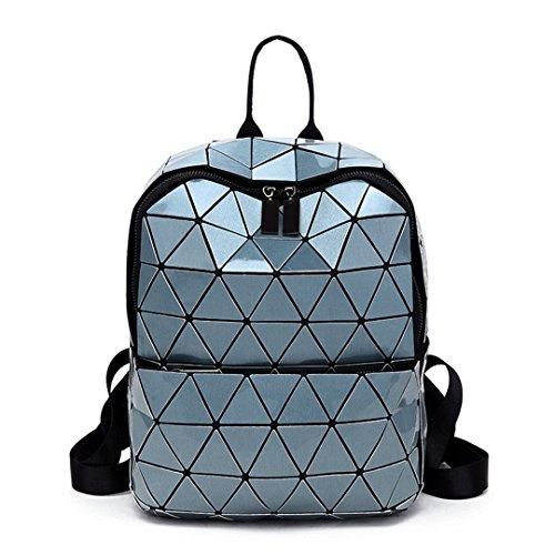 Women Backpack Geometric Folding Bag Small Student's School Bags Girls Hologram Daily Backpack Sky