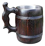 Handmade Beer Mug Made of Wood Tankard Wooden Stein Beer Tankard Stein Crafted Beer Mug Cup Capacity: 20.28oz (600ml)