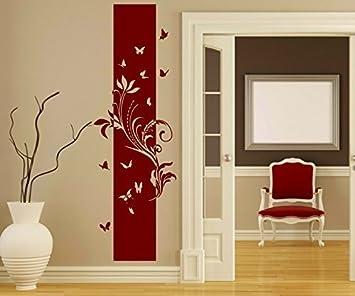 Wandtattoo Banner Blumen Ranke Blätter Floral Deko Schmetterlinge Streifen  Blüten Flur Wandaufkleber Wohnzimmer 1U212, Farbe