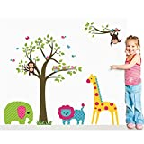 DIY Kid's Child Room Decor Home Decoration Cartoon Lovely Animal Lion Owl Monkey Giraffe Elephant Zoo Removable Wall Stickers