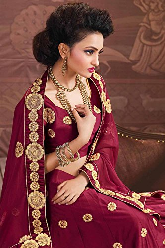 PCC Womens Silk Fabric Maroon Pretty Circular Lehenga Style 84046