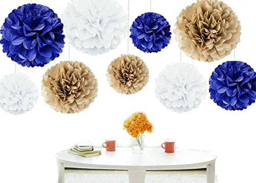 Kubert  18Pcs Mixed Sizes 8 10 14 Premium Tissue Paper Pom Poms Flower Ball Wedding Party Outdoor Decoration   Royal Blue  Gold   White