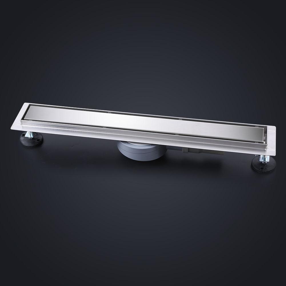 60cm Drain de Plancher Acier Inoxydable Drain de Douche Rectangulaire Rotation /à 360 Degr/és Canal Drain Tuile Egouttoir Anti-ordures pour Salle de Bain Cuisine