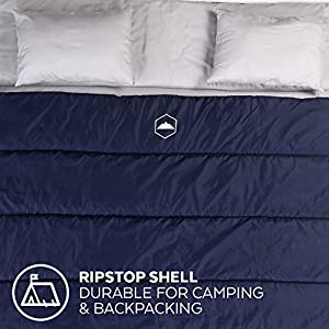 Tough Outdoors Double Sleeping Bag [Queen Size XL] with Pillows & Compression Sack - 2 Person Sleeping Bags for Adults, Couples & Teens - Lightweight & Waterproof for Camping, Backpacking, Hiking