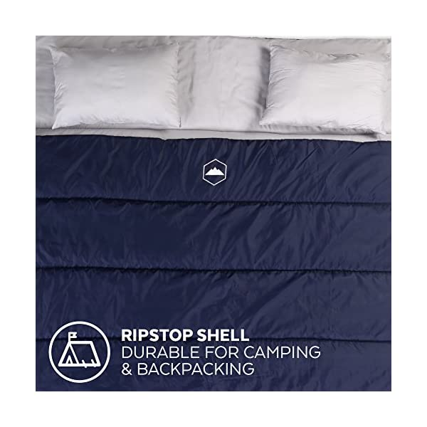 3 Season Double Trouble Sleeping Bag Queen Size With Pillows Compression Sack Converts Into 2 Singles For Adults Couples Lightweight Waterproof For Backpacking Camping Hiking 91 X 66