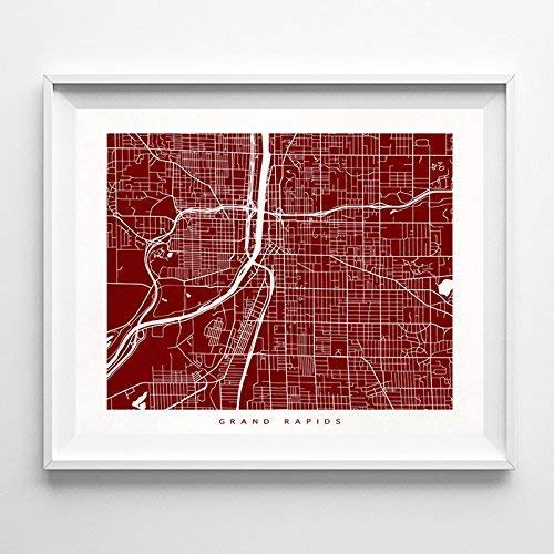 Grand Rapids Michigan Street Road Map Poster Home Decor Print Modern City Urban Wall Art