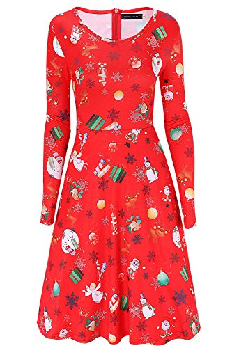 Neck DREAGAL Length Dress Zipper Printed Casual Long Scoop Sleeve Red Knee Back Party Reindeer Christmas Women's rwqS8r