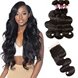 10A Brazilian Virgin Body Wave Hair 3 Bundles with Closure 100% Unprocessed Brazilian Body Wave Human Hair With Free Part Lace Closure Brazilian Body Wave Hair Extensions (16 18 20+14