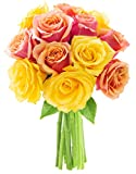 Kabloom Sweet Honey Orange and Yellow Roses (Dozen) - Without Vase