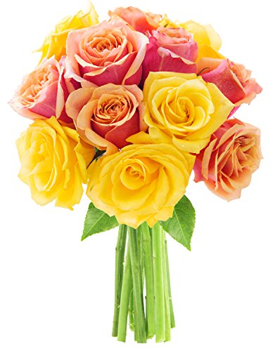 Kabloom Sweet Honey Orange and Yellow Roses (Dozen) - Without (Sunny Day Rose Bouquet)