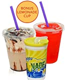 100 Sets 24 Oz Plastic Clear Cups with Flat Lids for Iced Coffee Bubble Boba Tea Smoothie G - Plus 1 re-usable Cup Set