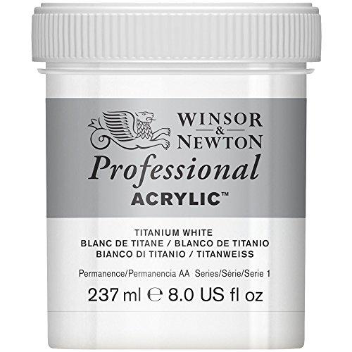 Winsor & Newton Professional Acrylic Color Paint, 237ml Jar, Titanium White ()